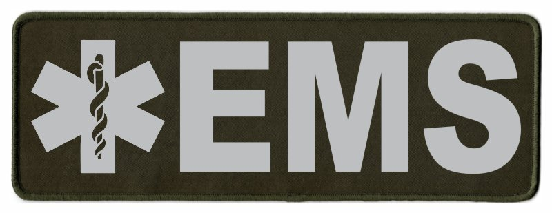 EMS Star of Life ID Patch - 11x4 - Gray Lettering - OD Green Twill Backing