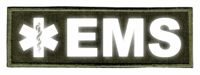 EMS Star of Life ID Patch - 6x2 - Reflective Lettering - OD Green Twill Backing