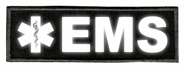 EMS Star of Life ID Patch - 6x2 - Reflective Lettering - Black Twill Backing