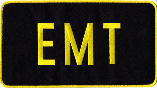 EMT Back Patch - 11 x 6 - Med Gold Lettering - Black Backing - Sew on