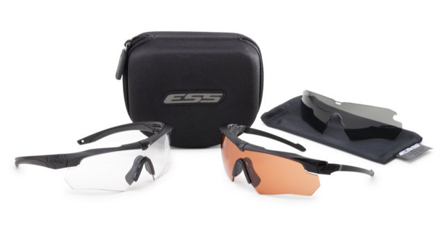 ESS Crossbow Suppressor 2X+ Eyeshield Kit - 2 Frames, 3 Lenses - Clear, Smoke Grey & Hi-Def Copper