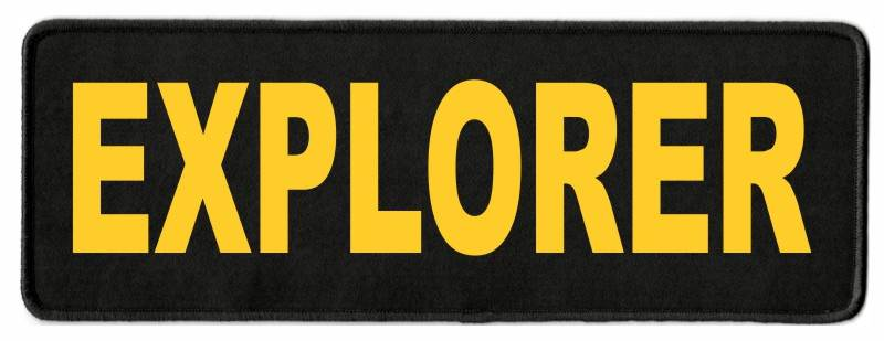 EXPLORER ID Patch - 11x4 - Gold Lettering - Black Twill Backing