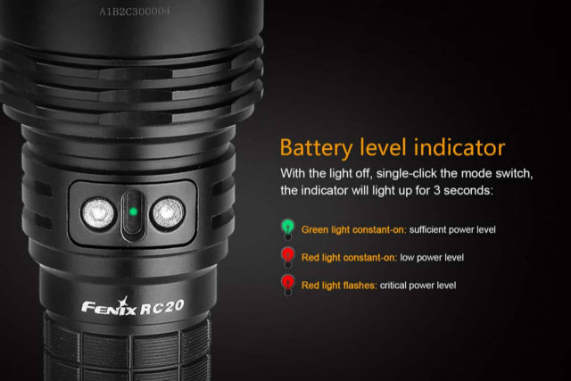 fenix rc20 led rechargeable flashlight 1000 lumens 23 off. Black Bedroom Furniture Sets. Home Design Ideas
