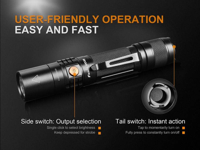 fenix uc35 v2 led usb rechargeable flashlight 960 lumens. Black Bedroom Furniture Sets. Home Design Ideas