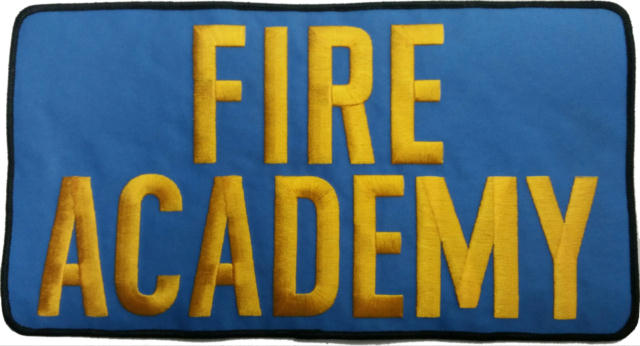 FIRE ACADEMY Back Patch - 11 x 6 - Med Gold Lettering - Med Blue Backing - Sew on