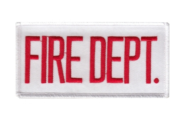 FIRE DEPT. Chest Patch - 4 x 2 - Red on White Backing