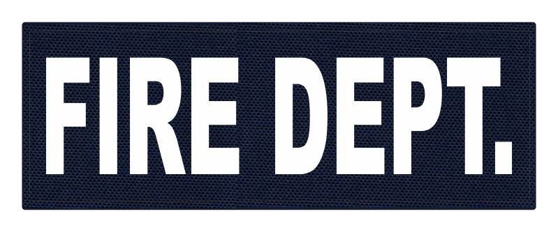FIRE DEPT. ID Patch - 11x4 - White Lettering - Navy Backing - Hook Fabric