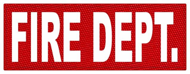 FIRE DEPT. ID Patch - 11x4 - White Lettering - Red Backing - Hook Fabric