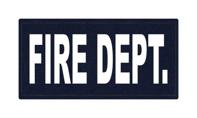 FIRE DEPT. ID Patch - 4x2 - White Lettering - Navy Backing - Hook Fabric