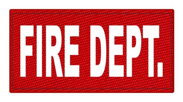 FIRE DEPT. ID Patch - 4x2 - White Lettering - Red Backing - Hook Fabric