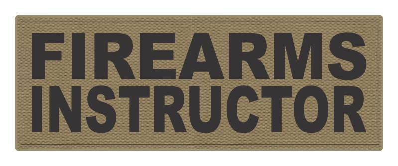 FIREARMS INSTRUCTOR - 11x4 - Black Lettering - Tan Backing - Hook Fabric
