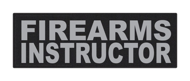 FIREARMS INSTRUCTOR - 6x2 - Gray Lettering - Black Backing - Hook Fabric