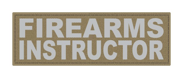 FIREARMS INSTRUCTOR - 6x2 - Gray Lettering - Tan Backing - Hook Fabric