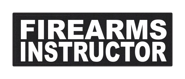 FIREARMS INSTRUCTOR - 6x2 - White Lettering - Black Backing - Hook Fabric