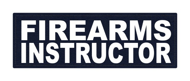 FIREARMS INSTRUCTOR - 6x2 - White Lettering - Navy Backing - Hook Fabric