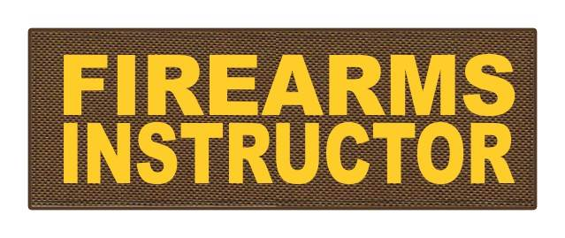 FIREARMS INSTRUCTOR - 8.5x3 - Gold Lettering - Coyote Backing - Hook Fabric
