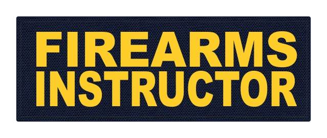 FIREARMS INSTRUCTOR - 8.5x3 - Gold Lettering - Navy Backing - Hook Fabric