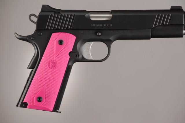 Hogue Molded Handgun Grip 1911 - Government 1911, Commander & Clones w/Grip Panels - Pink