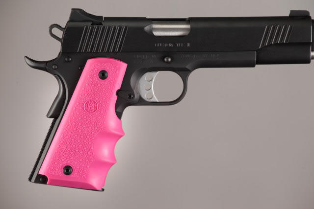 Hogue Molded Handgun Grip 1911 - Government 1911, Commander & Clones w/Finger Grooves - Pink