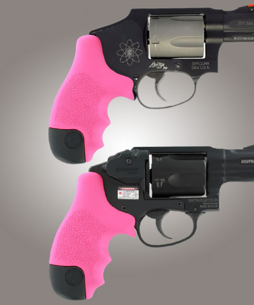 Hogue Rubber Tamer Grip for S&W J Frame Centennial / Bodyguard Round Butt - Pink