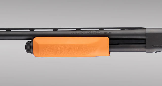 Hogue Shotgun Stocks, Remington 870 - Less Lethal Orange OverMolded Forend