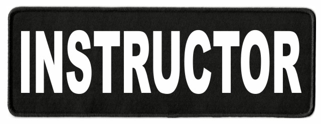 INSTRUCTOR ID Patch - 11x4 - White Lettering - Black Twill Backing
