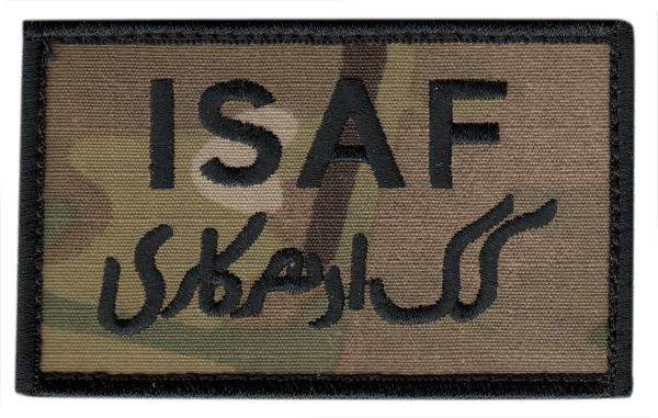 ISAF Patch - Military Sized - Black border - Hook backing