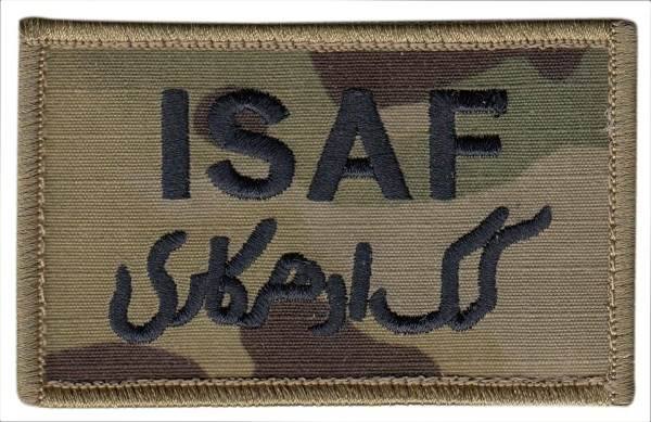 ISAF Patch - Military Sized - Tan border - Hook backing