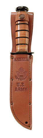KA-BAR US Army Fighting / Utility Knife Replacement Brown Leather Sheath with US ARMY Logo