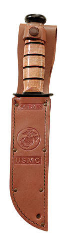 KA-BAR USMC Fighting / Utility Knife Replacement Brown Leather Sheath with USMC Logo