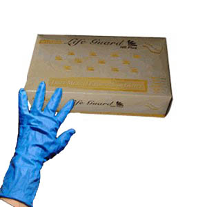 Life Guard High Risk Exam Gloves - 8 mil - Blue Nitrile