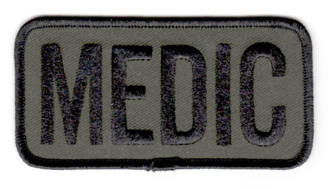 MEDIC Chest Patch - 4 x 2 - Black Lettering: OD Backing