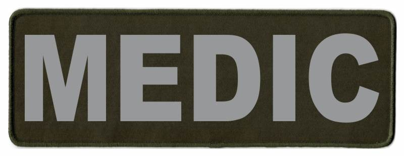 MEDIC Identification Patch - 11x4 - Gray Lettering - OD Green Twill Backing