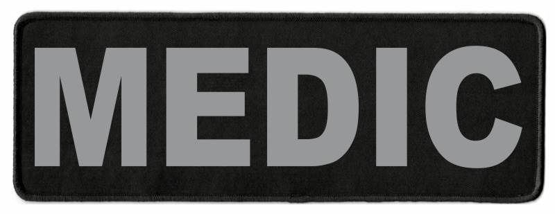 MEDIC Identification Patch - 11x4 - Gray Lettering - Black Twill Backing