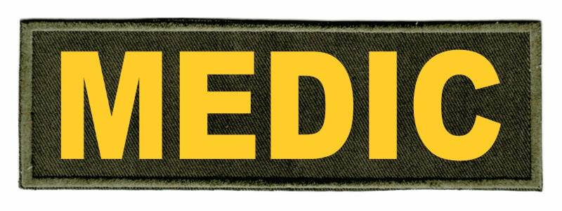 MEDIC Identification Patch - 6x2 - Gold Lettering - OD Green Twill Backing