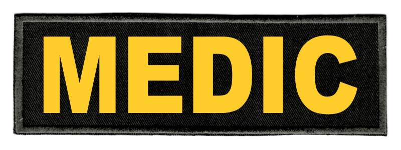 MEDIC Identification Patch - 6x2 - Gold Lettering - Black Twill Backing