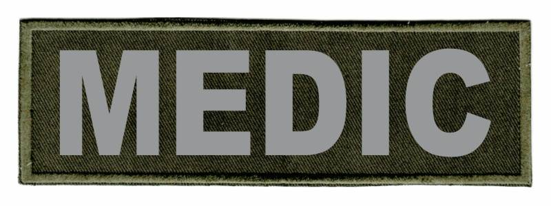 MEDIC Identification Patch - 6x2 - Gray Lettering - OD Green Twill Backing