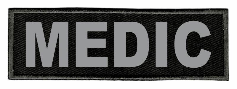 MEDIC Identification Patch - 6x2 - Gray Lettering - Black Twill Backing