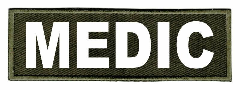 MEDIC Identification Patch - 6x2 - White Lettering - OD Green Twill Backing