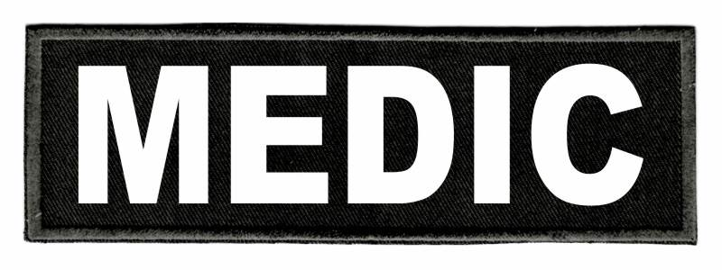 MEDIC Identification Patch - 6x2 - White Lettering - Black Twill Backing