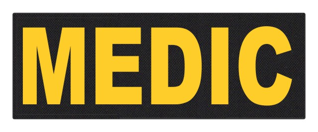 MEDIC Patch - 11x4 - Gold Lettering - Black Backing - Hook Fabric