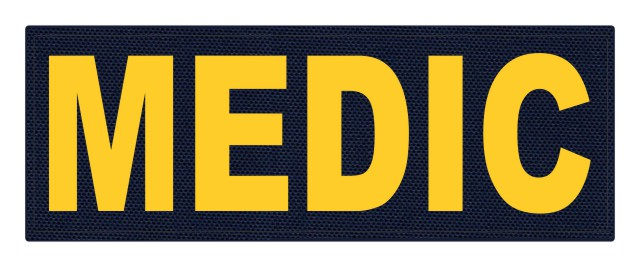 MEDIC Patch - 11x4 - Gold Lettering - Navy Backing - Hook Fabric