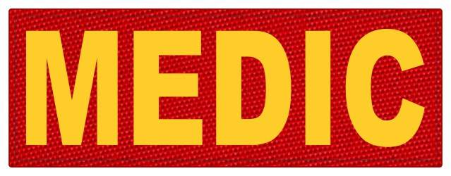 MEDIC Patch - 11x4 - Gold Lettering - Red Backing - Hook Fabric