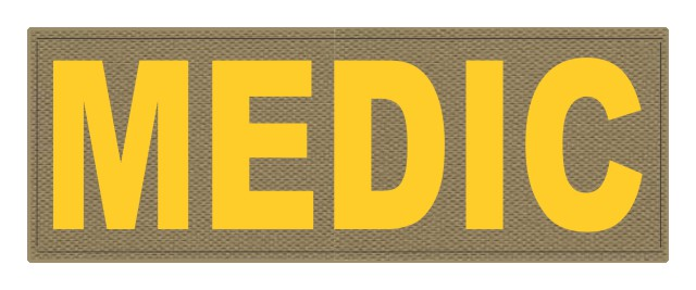 MEDIC Patch - 11x4 - Gold Lettering - Tan Backing - Hook Fabric