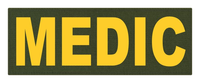 MEDIC Patch - 11x4 - Gold Lettering - OD Green Backing - Hook Fabric