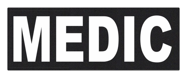 MEDIC Patch - 11x4 - White Lettering - Black Backing - Hook Fabric