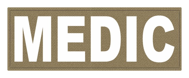 MEDIC Patch - 11x4 - White Lettering - Tan Backing - Hook Fabric