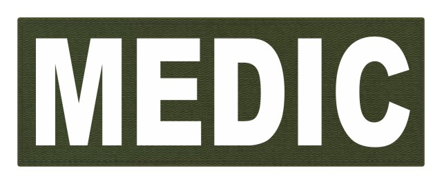MEDIC Patch - 11x4 - White Lettering - OD Green Backing - Hook Fabric