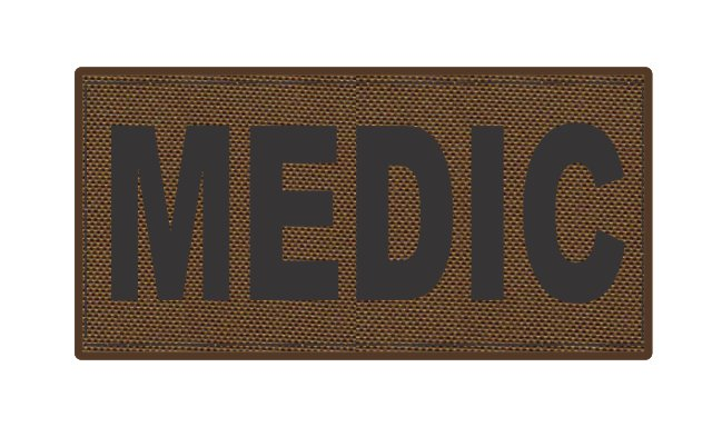 MEDIC Patch - 4x2 - Black Lettering - Coyote Backing - Hook Fabric