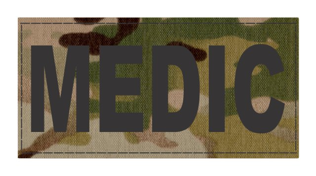 MEDIC Patch - 4x2 - Black Lettering - Multicam Backing - Hook Fabric
